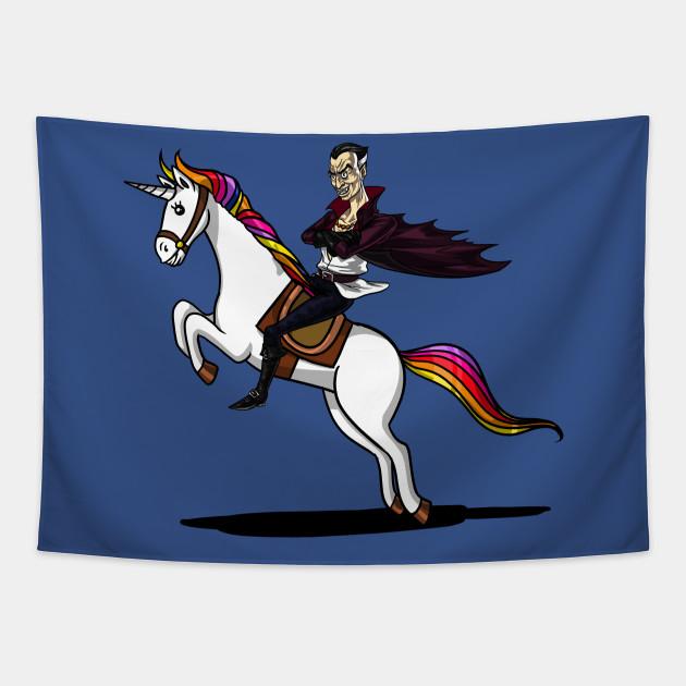 Scary Vampire Riding Unicorn Funny Magical