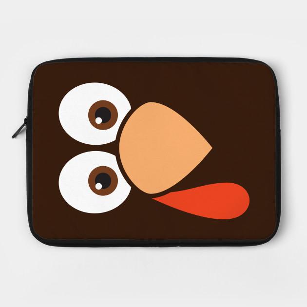 Cute Cartoon Turkey Face Thanksgiving Laptop Case Teepublic