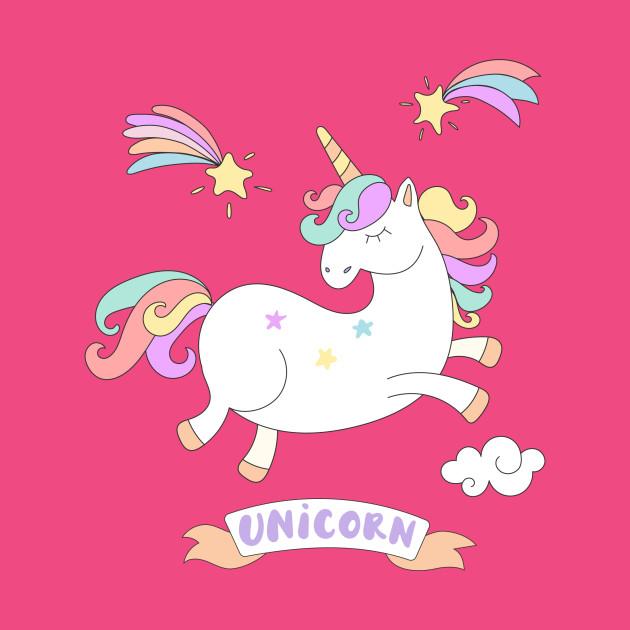 Cute Jumping Colorful Unicorn - Unicorn - T-Shirt | TeePublic