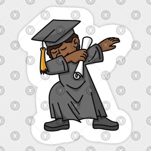 Black boy student dab dabbing graduation school