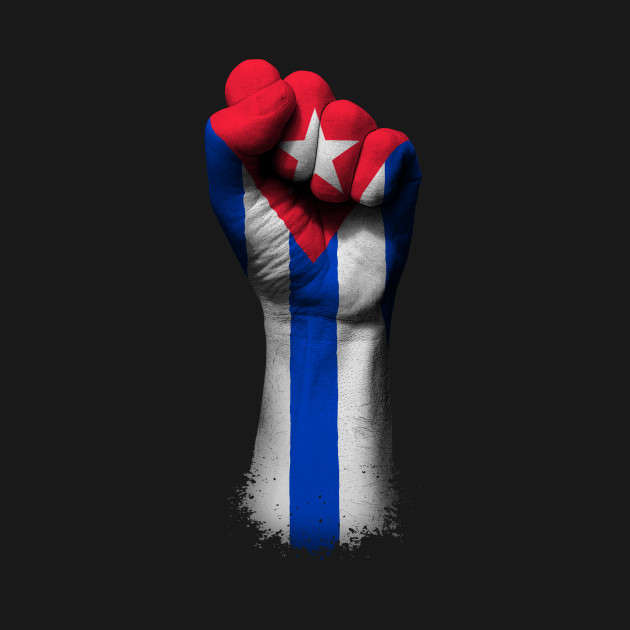 Flag of Cuba on a Raised Clenched Fist