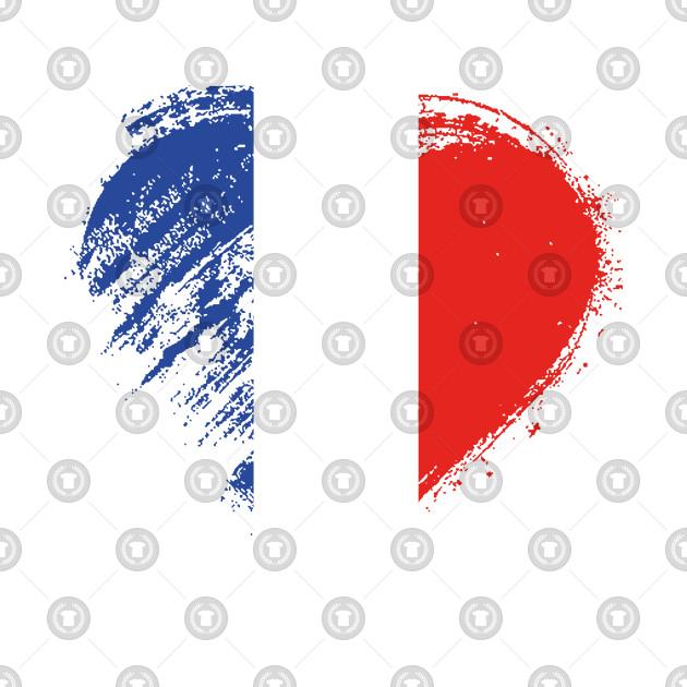 Grungy I Love France Heart Flag