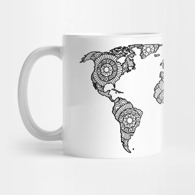 Mandala World Map World Map Mug Teepublic