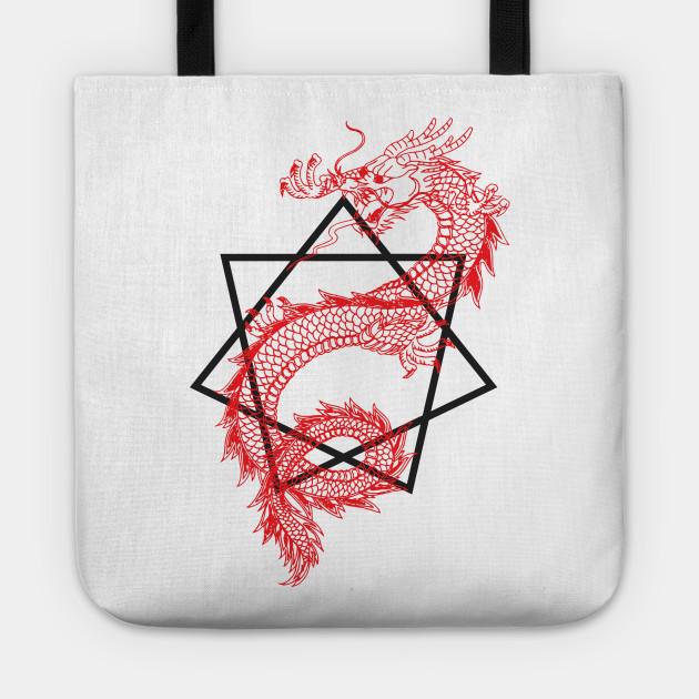 Asian Dragon With Sacred Geometry Heptagram (Seven Sided Star) Design