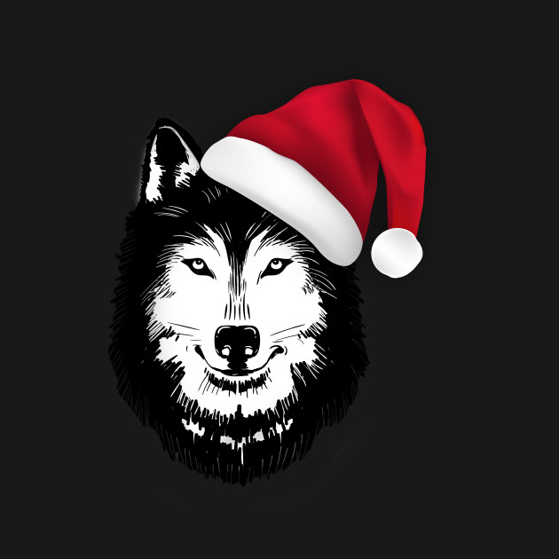 Christmas Wolf.Wolf Santa Hat Christmas Shirt For Wolf Lovers