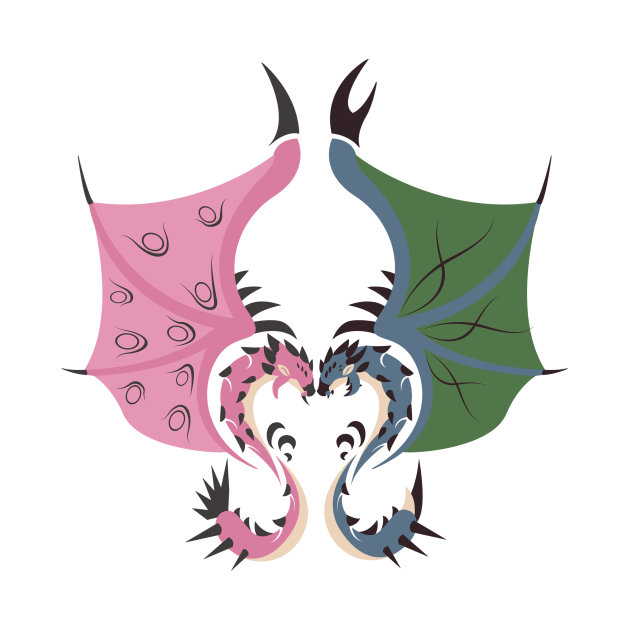 Heaven and Earth - Pink Rathian and Azure Rathalos
