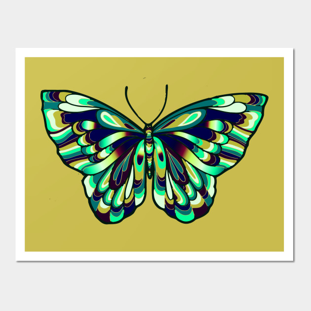 Pretty Blue Butterfly - Butterfly Art - Wall Art | TeePublic