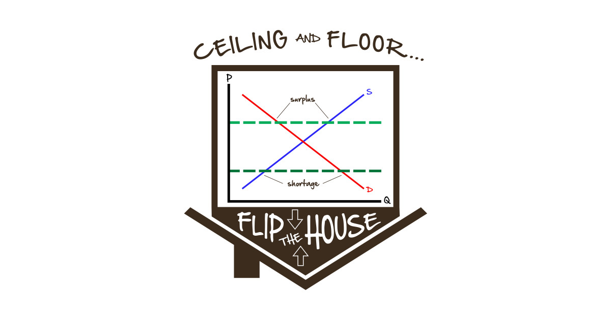 Flip The House Economics Price Ceiling Floor Graph Econ Teacher Tee By Kellydesigncompany