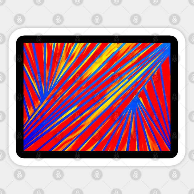 Aesthetic Lines Red Blue Yellow Art Lines Sticker Teepublic