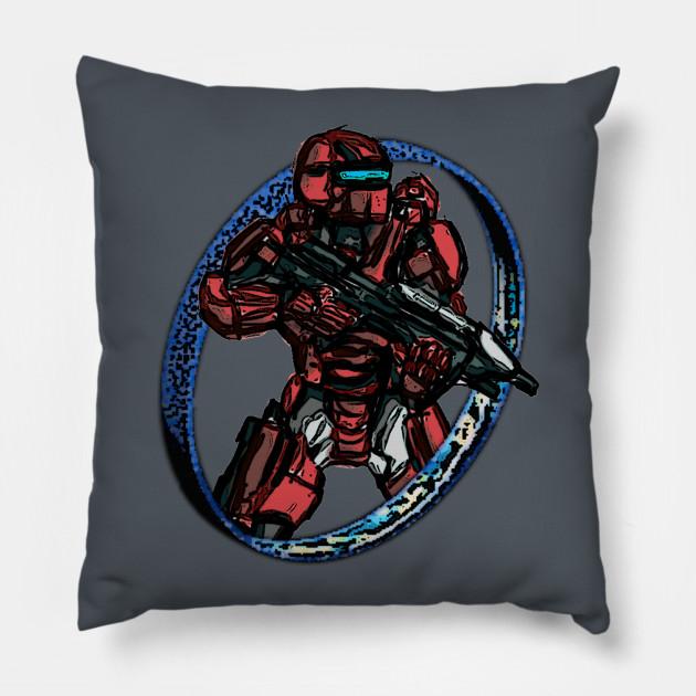 Halo Spartan Warrior Red Multiplayer Pillow Teepublic