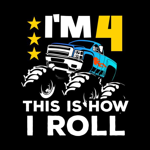 Monster Trucks 4th Birthday Gift | Big Trucks