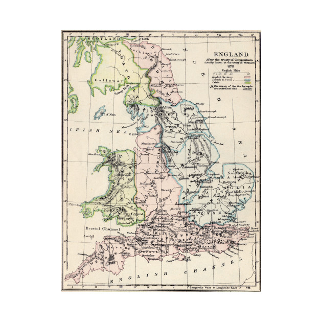 Kids Map Of England.Vintage Map Of England 1892
