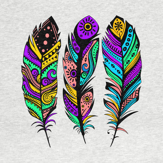 Colorful Tribal Feathers Illustration