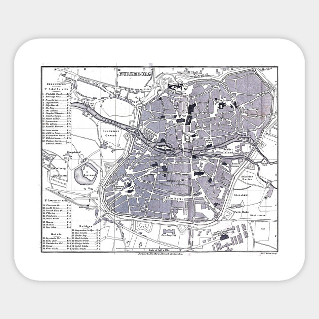 Map Of Germany Nuremberg.Vintage Map Of Nuremberg Germany 1858