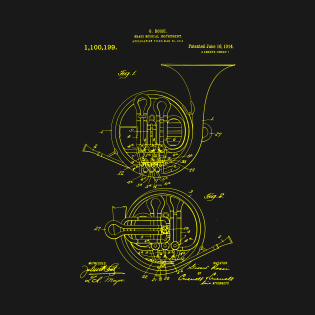 French horn patent print t shirt patent prints patent art t shirt 938956 1 malvernweather Image collections