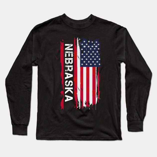 Nebraska USA Adult Cotton Long Sleeve T-shirt