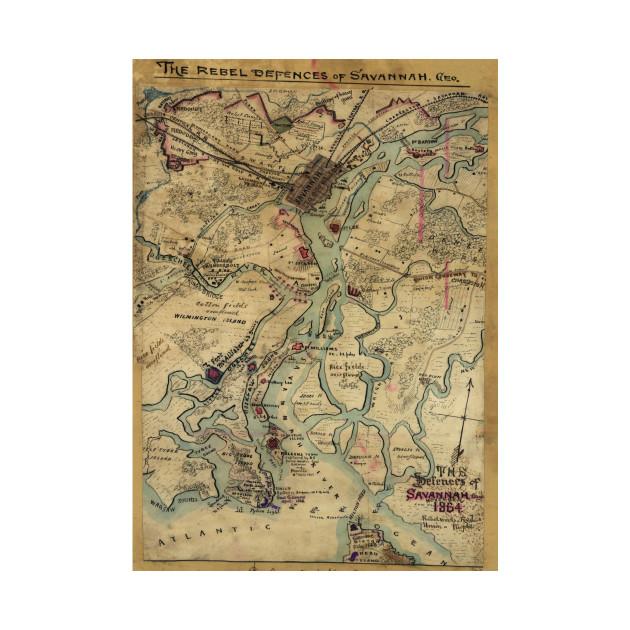 Vintage Savannah Georgia Civil War Map (1864)