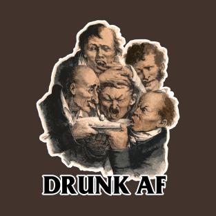 DRUNK AF Vintage Funny Drinking/Drunk/Booze Design Tee t-shirts