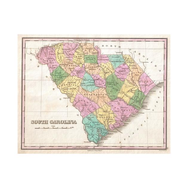Vintage Map of South Carolina (1827) on virgina map, quebec map, georgia map, arizona map, manitoba map, nova scotia map, guam map, n dakota map, munich s-bahn map, clemson map, north dakota map, ohio map, miami map, district of columbia map, minnesota map, conn map, iowa map, houston map, nc state map, central fl map,