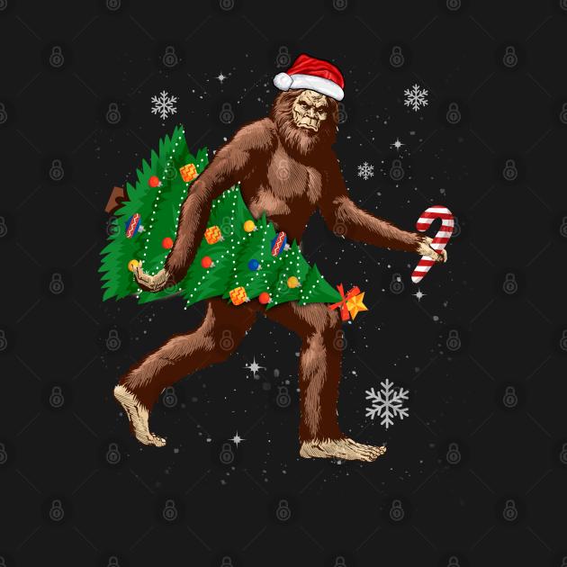 Sasquatch Carrying Christmas Tree Santa Hat ELF Cute Funny Tee Xmas