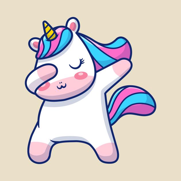 Cute Unicorn dabbing Cartoon
