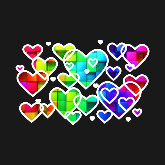 Rainbow hearts white