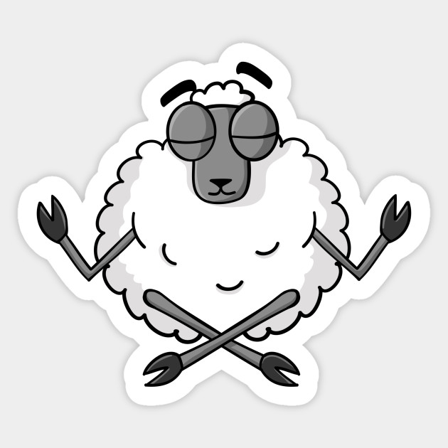 Funny Yoga Sheep Namaste Cartoon Gift Sheep Yoga Sticker Teepublic
