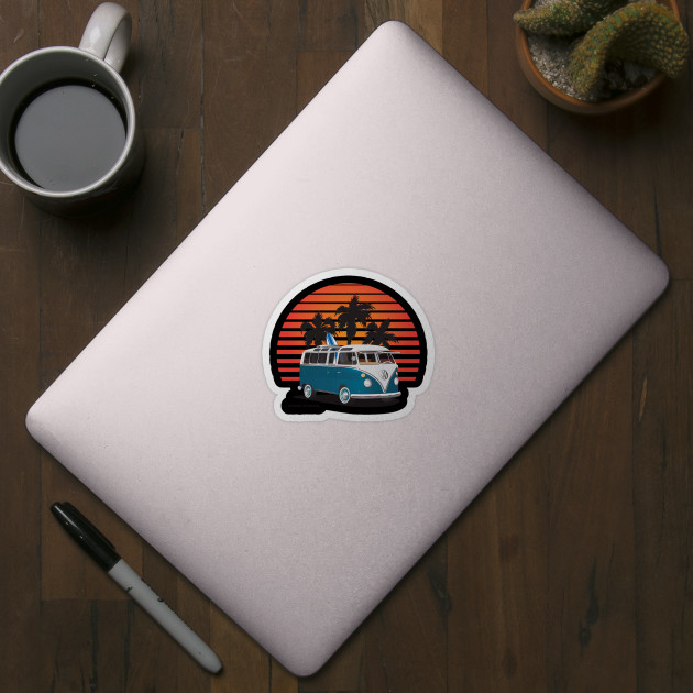 508a621674ebae Aquamarine 21 Window Surfer Van with Sunset - Surf Van - Sticker ...