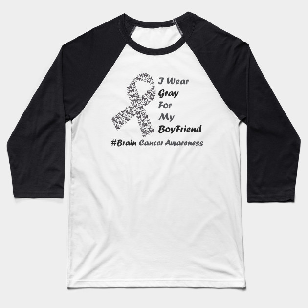 Embroidery look Gray ribbon Brain Cancer Warrior T-shirt