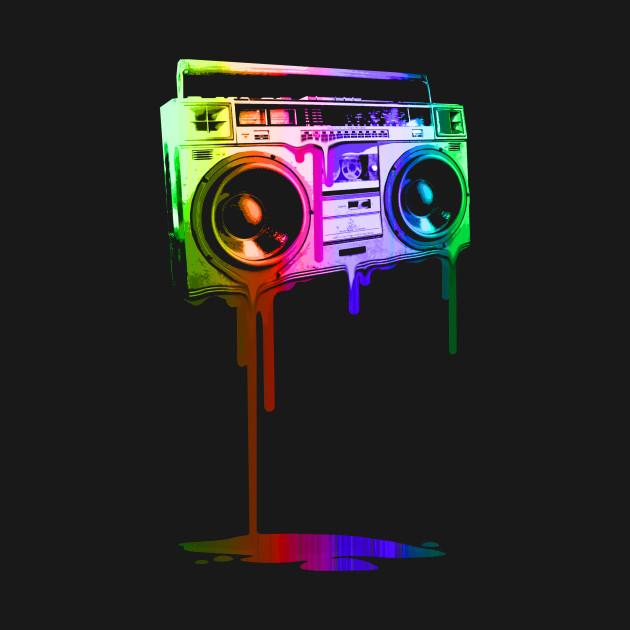 Melting Boombox (digital rainbow color)