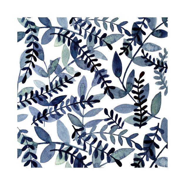 Watercolor branches - indigo