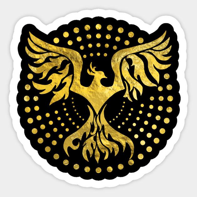 Gold Decorated Phoenix Bird Symbol Phoenix Sticker Teepublic