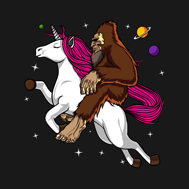 Bigfoot riding a unicorn