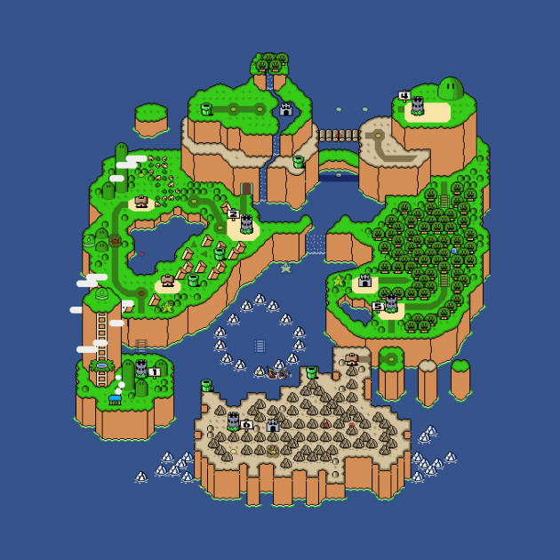 Super Mario World Map - Mario - T-Shirt | TeePublic
