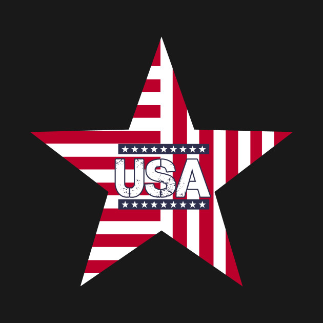 USA Red White Blue Flag Star