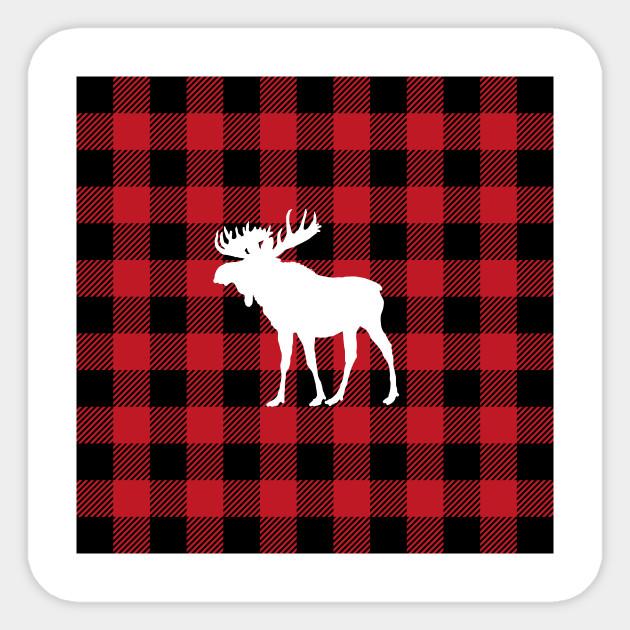 e441b5f9 Red Buffalo Plaid Moose - Buffalo Plaid - Sticker   TeePublic