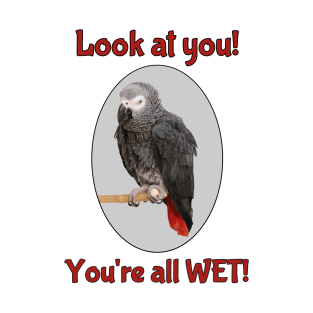 African Grey Parrot on Perch t-shirts