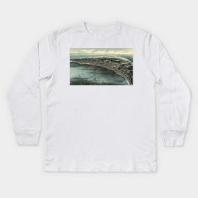 9e0c3d757d Vintage Pictorial Map of Provincetown (1910) Kids Long Sleeve T-Shirt