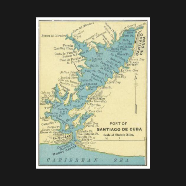 Vintage Map Of Santiago De Cuba Santiago De Cuba TShirt - Vintage map of cuba