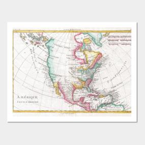North america map wall art teepublic vintage map of north america 1780 wall art gumiabroncs Gallery