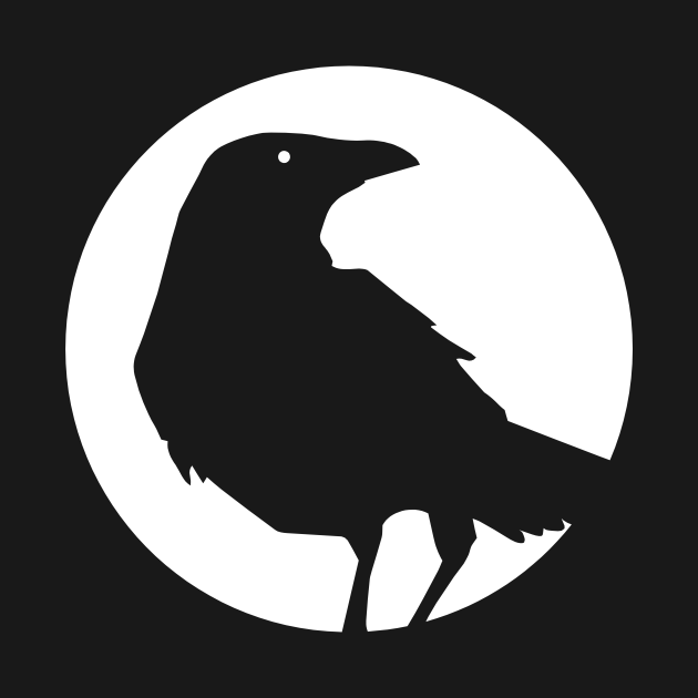 Moon crow Heart - White