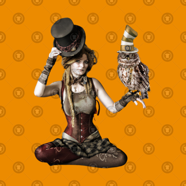 cc0a62b52 Cool Steampunk Victorian Woman and Owl in Top Hats