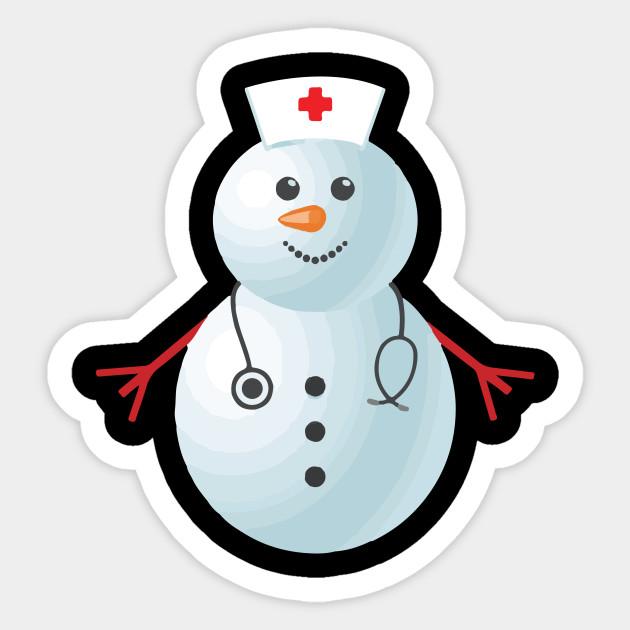 Medical Scrub Top Nurse S Hat Wearing Snowman Xmas Funny