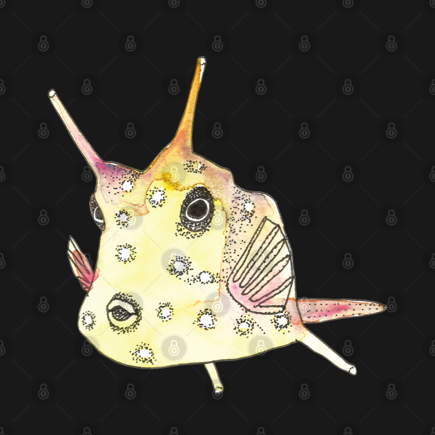 Watercolor Yellow Longhorn Cowfish (Horned Boxfish)