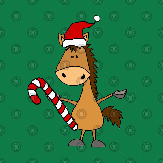 Christmas Horse Cartoon.Cute Horse In Santa Hat Christmas Cartoon