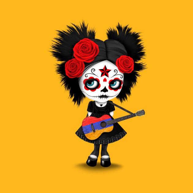Sugar Skull Girl Playing Armenian Flag Guitar
