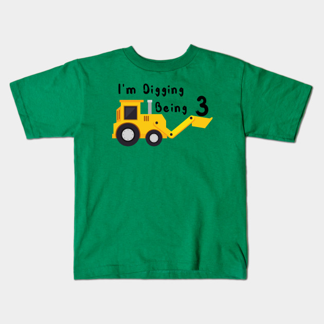 3rd Birthday Bulldozer Construction Party 3 Year Old Boy Toddler Kids T Shirt