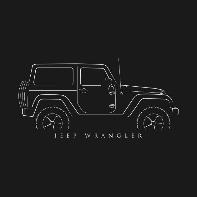 Jeep Wrangler Profile Stencil Wrangler TShirt TeePublic - Jeep t shirt design