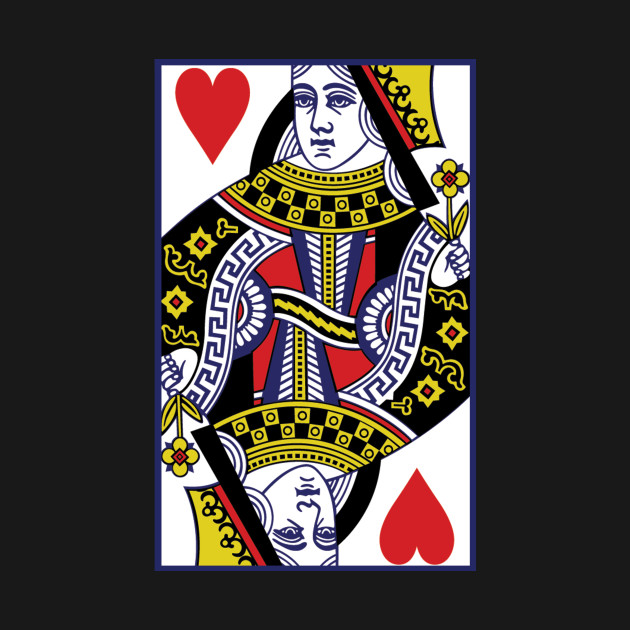 Queen Of Hearts Playing Card Merchandise Shirts Covers Design