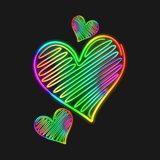 Heart Love Neon Rainbow Colors
